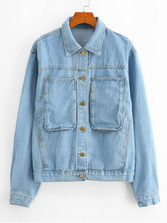 online Pocket Single Breasted Denim Boyfriend Jacket - BLUE S