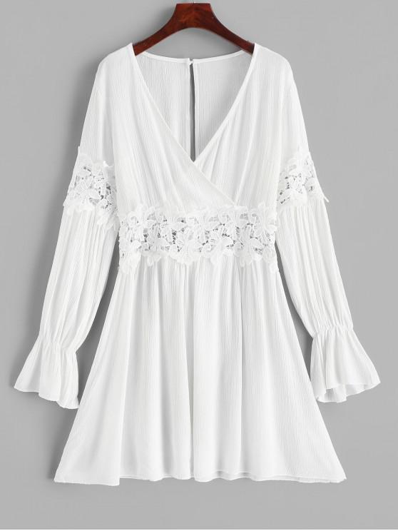 ladies Open Back Lace Panel Long Sleeve Surplice Dress - WHITE L