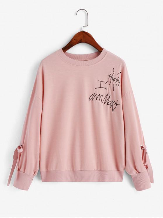 shop Embroidered Tied Drop Shoulder Sweatshirt - PINK L