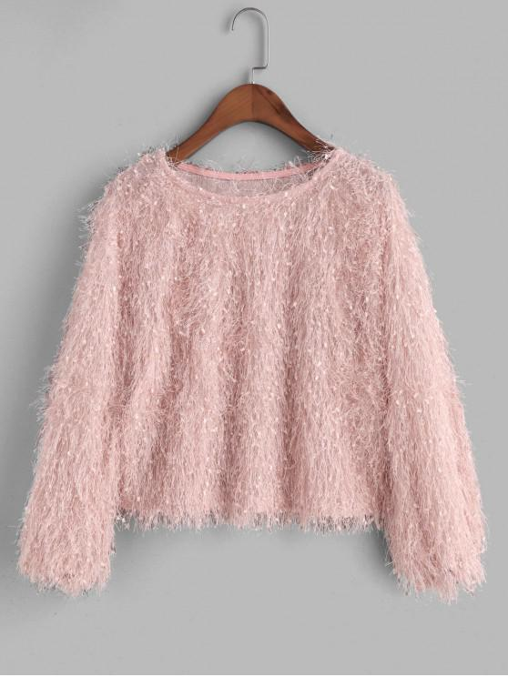 fancy Pullover Fluffy Fringes Sweatshirt - PINK ONE SIZE