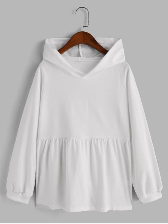 outfit Plain Raglan Sleeve Skirted Hoodie - WHITE S