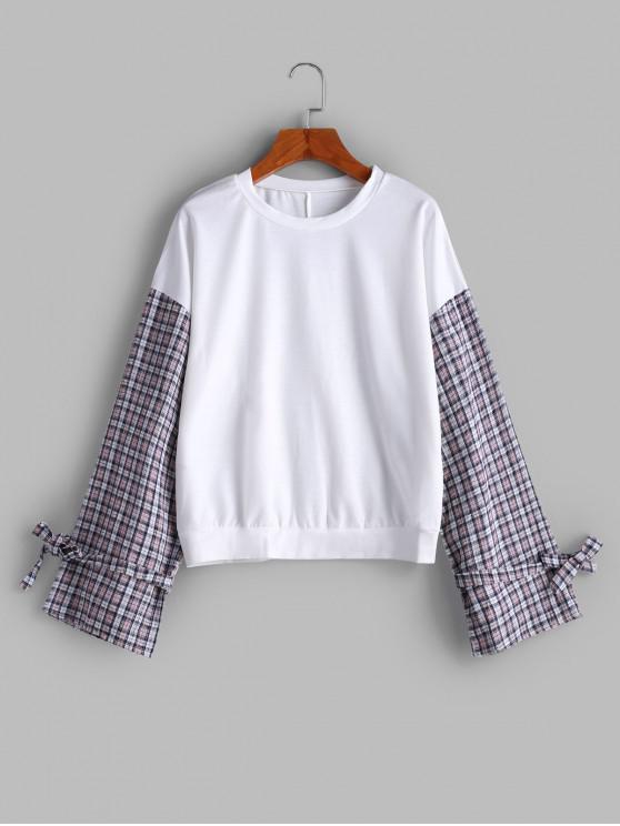 Sweat-shirt à Carreaux Goutte Epaule à Manches Nouées - Blanc L