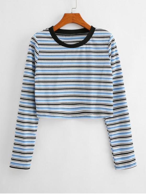 lady Ribbed Striped Long Sleeve Knitwear - MULTI-A L