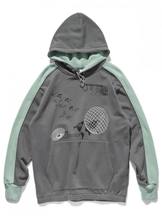womens Two Tone Earth Map Graphic Front Pocket Hoodie - GRAY XL