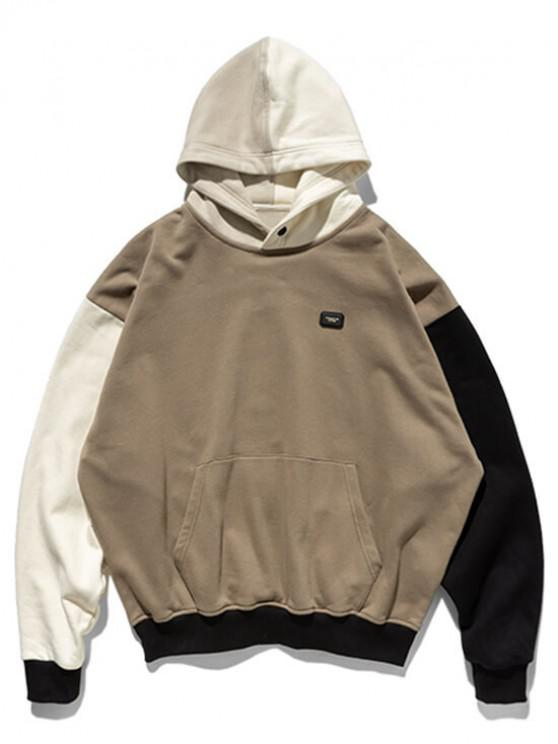 Color-bloccanti Patch tasca frontale Fleece Hoodie - Grigio XL
