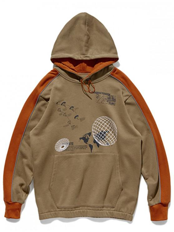 women Two Tone Earth Map Graphic Front Pocket Hoodie - COFFEE M