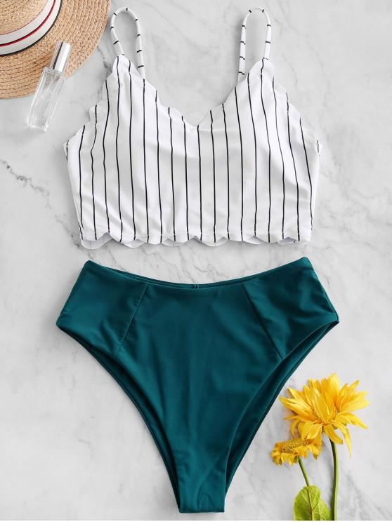shop ZAFUL Vertical Striped Scalloped Tankini Swimsuit - GREENISH BLUE XL