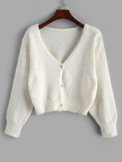 Fuzzy Button Up V Neck Cropped Cardigan - White