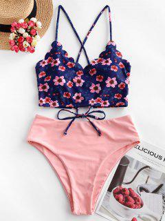 ZAFUL Floral Scalloped Crisscross Tankini Swimsuit - Rose L