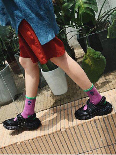 buy Chic Cherry Pattern Cotton Socks - PURPLE  Mobile