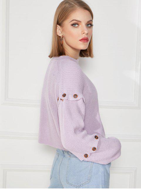 outfit Detachable Sleeve Buttoned Drop Shoulder Sweater - MAUVE L Mobile