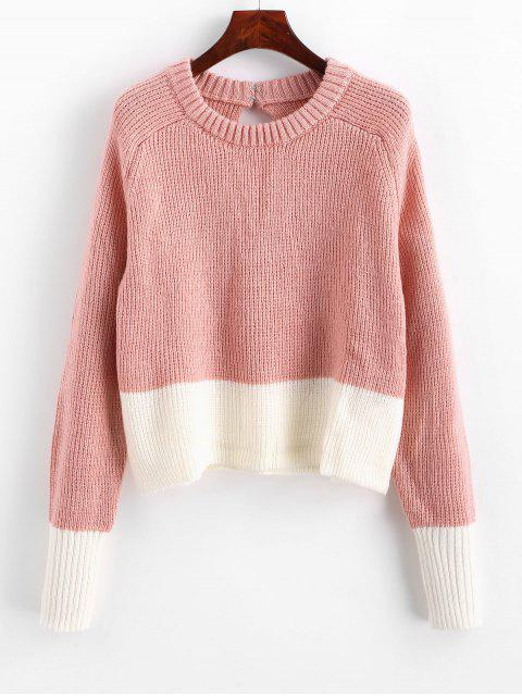 lady Two Tone Hook and Eye Keyhole Back Sweater - PIG PINK S Mobile