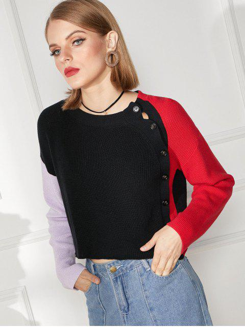women's Inclined Button Drop Shoulder Color Block Sweater - MULTI-A M Mobile