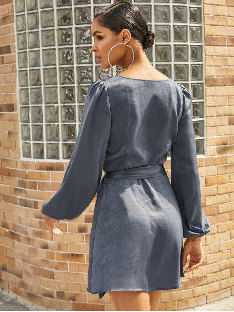 ZAFUL Robe Superposée à Ourlet Tulipe - Bleu-gris S Mobile