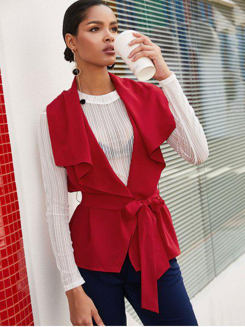 ZAFUL sólido con cinturón con falda Chaleco - Rojo M Mobile