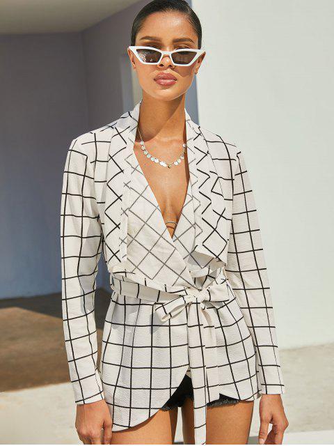 shop ZAFUL Plaid Draped Belted Asymmetric Jacket - WHITE M Mobile