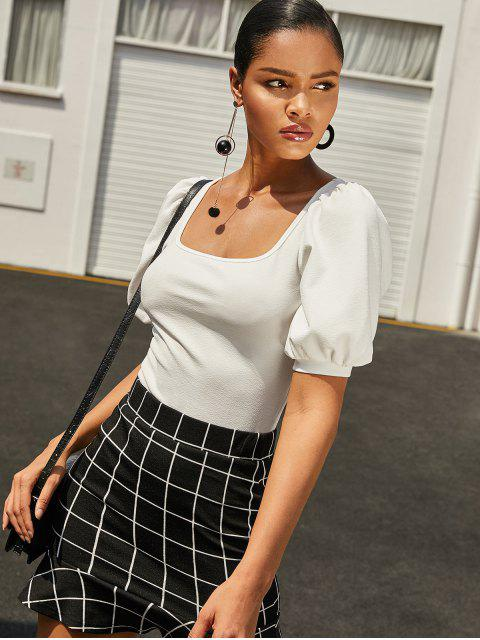 outfit ZAFUL Scoop Neck Puff Sleeve Top - MILK WHITE M Mobile