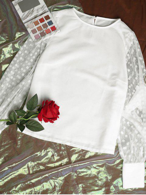 lady ZAFUL Sheer Mesh Sleeve Polka Dot Office Blouse - MILK WHITE XL Mobile