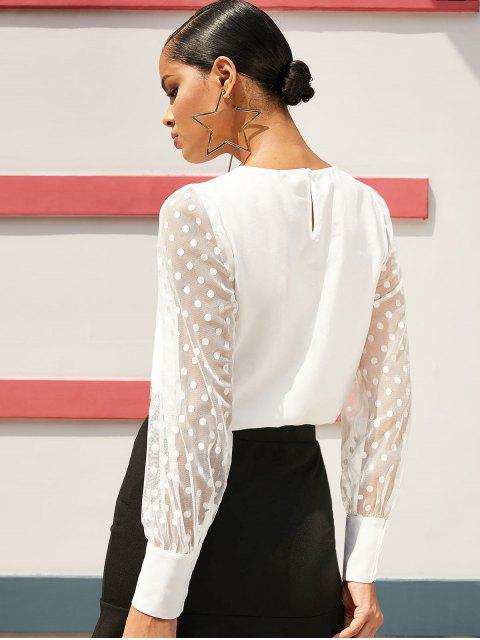 new ZAFUL Sheer Mesh Sleeve Polka Dot Office Blouse - MILK WHITE S Mobile