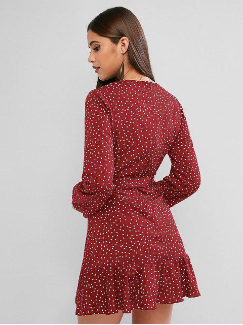 ZAFUL Mini Robe Ceinturée à Manches Longues à Pois - Châtaigne Rouge S Mobile