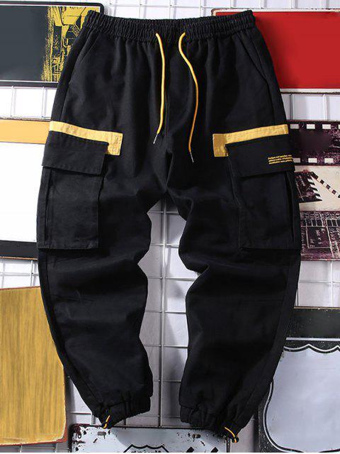 字母圖案顏色拼接休閒褲慢跑者 - 黑色 M Mobile