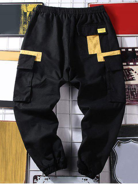 JoggerPantalonesCasualdeEstampadodeLetrasydeColorEmpalmado - Negro XL Mobile