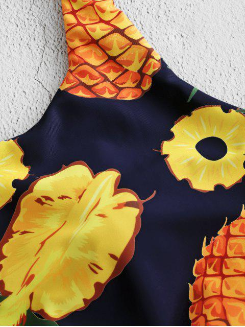 fashion ZAFUL Pineapple Knotted Padded Swim Top - MULTI-C M Mobile