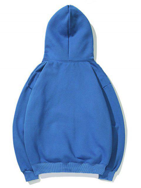 心臟打印袋鼠口袋套衫連帽衫 - 道奇藍 L Mobile