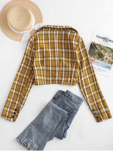 Doble camisa a cuadros de pecho recortada - Marrón Dorado Talla única Mobile