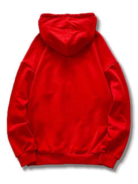 Sweat à Capuche de Noël Dessin Animé Imprimé avec Poche - Rouge 2XL Mobile
