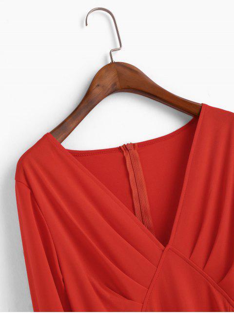 Mini Robe Plongeante à Manches Longues Ourlet à Volants - Rouge L Mobile