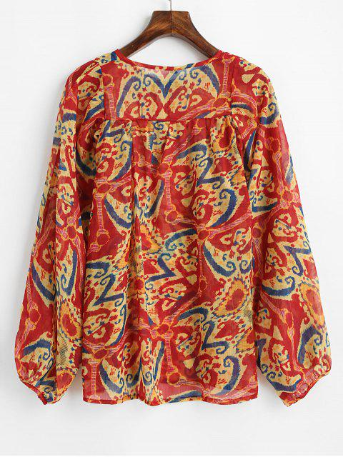 hot Flower Pattern Lantern Sleeve Chiffon Blouse - MULTI S Mobile