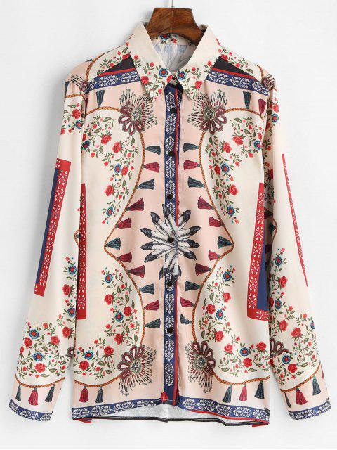 fancy Floral Tassel Print Long Sleeve Shirt - WHITE L Mobile
