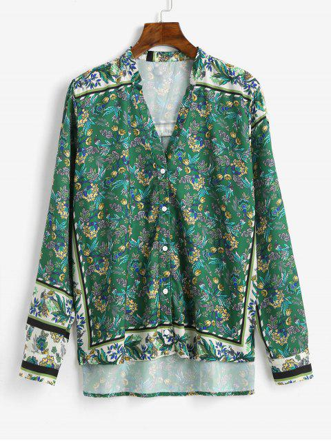women Floral Print Button Up Vented Shirt - GREEN M Mobile