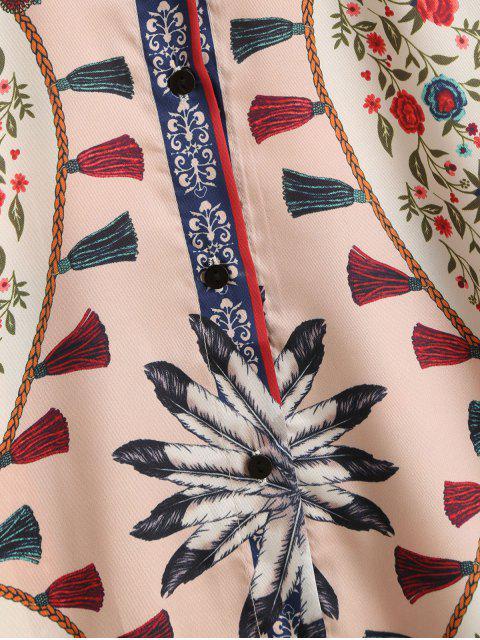 hot Floral Tassel Print Long Sleeve Shirt - WHITE M Mobile