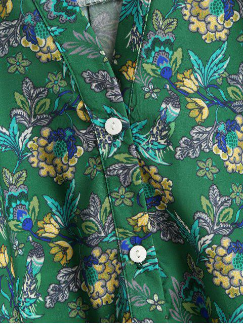 trendy Floral Print Button Up Vented Shirt - GREEN S Mobile
