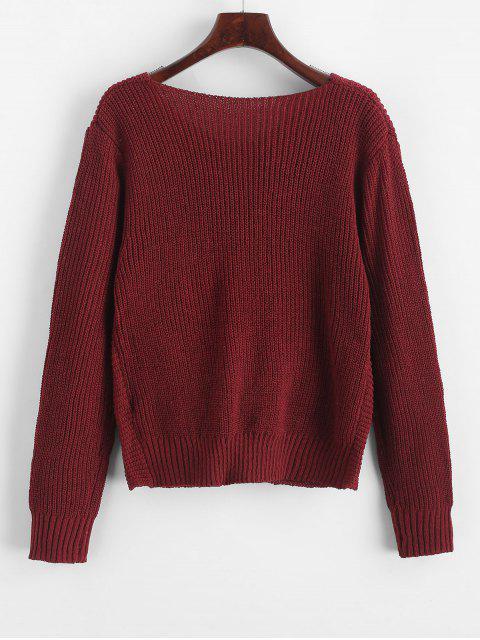 latest Pullover Twist Hem V Neck Sweater - RED WINE S Mobile