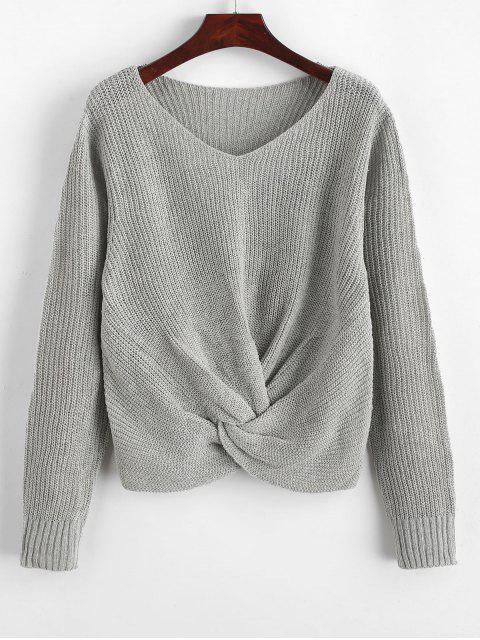 outfit Pullover Twist Hem V Neck Sweater - LIGHT GRAY S Mobile