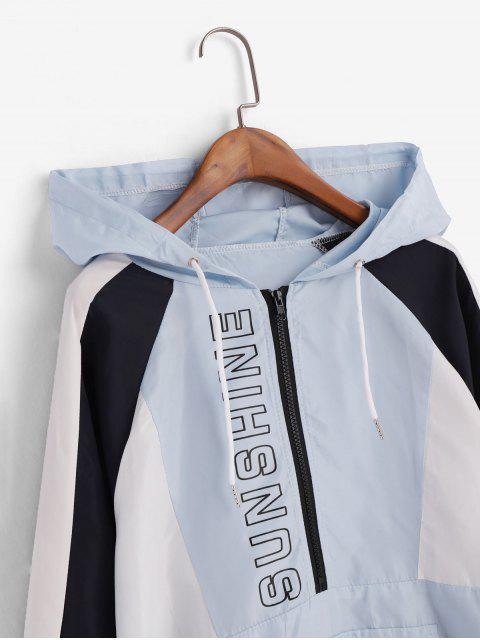 Veste à Capuche Coupe-vent Graphique Zippée en Blocs de Couleurs - Bleu M Mobile