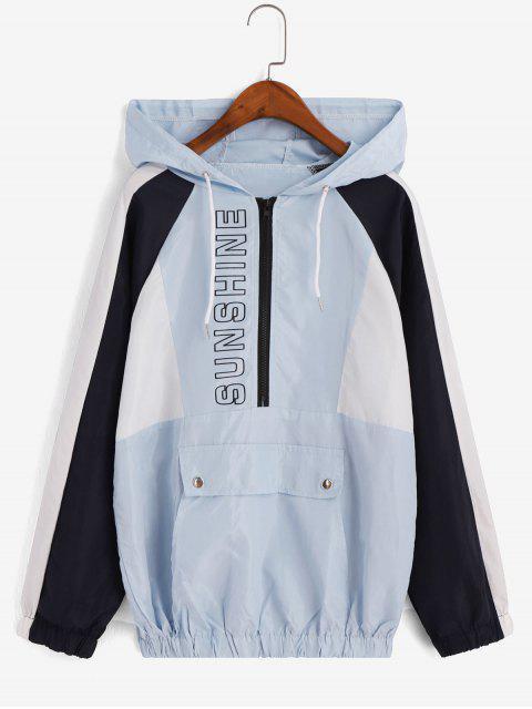 shops Hooded Color-blocking Graphic Zip Pullover Windbreaker Jacket - BLUE M Mobile