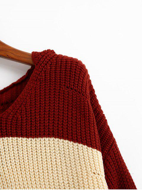new Color-blocking Hooded Pointelle Drop Shoulder Sweater - MULTI-A ONE SIZE Mobile
