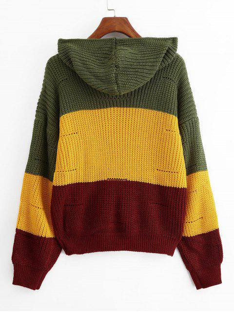 online Color-blocking Hooded Pointelle Drop Shoulder Sweater - MULTI-C ONE SIZE Mobile