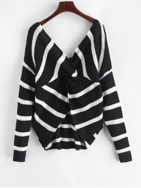 ストライプVネックセーターをバックツイスト - マルチ ワンサイズ Mobile