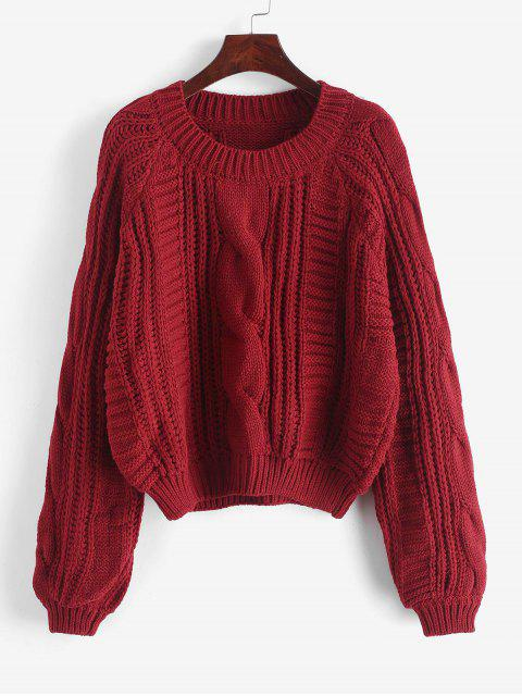 best Cable Knit Solid Color Chunky Sweater - RED WINE L Mobile