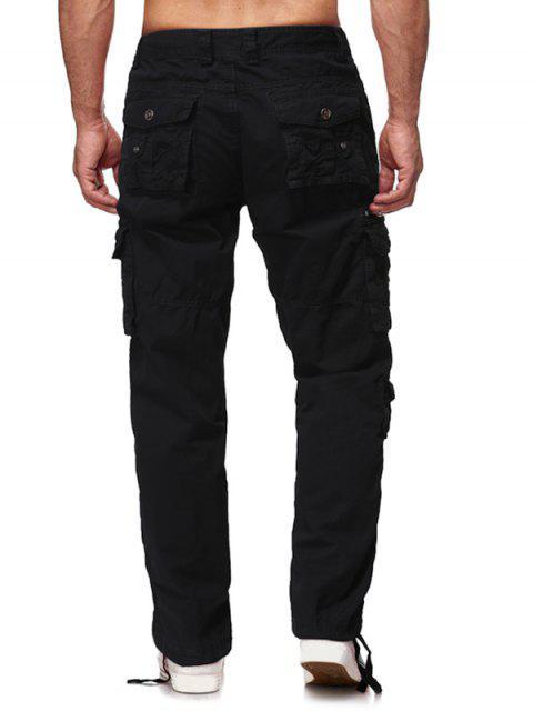 多蓋口袋實心長直褲 - 黑色 36 Mobile