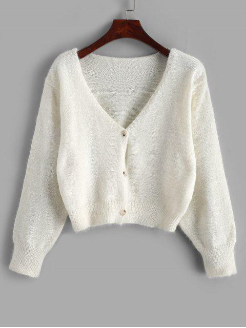 latest Fuzzy Button Up V Neck Cropped Cardigan - WHITE ONE SIZE Mobile