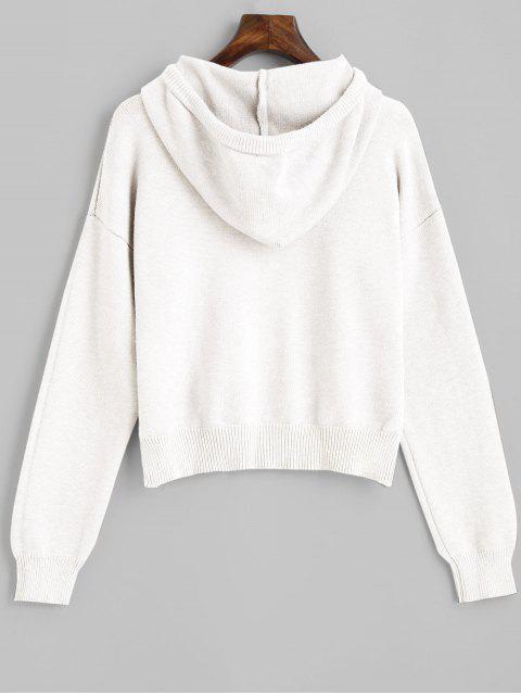 fancy Hooded Drop Shoulder Jumper Sweater - WHITE ONE SIZE Mobile