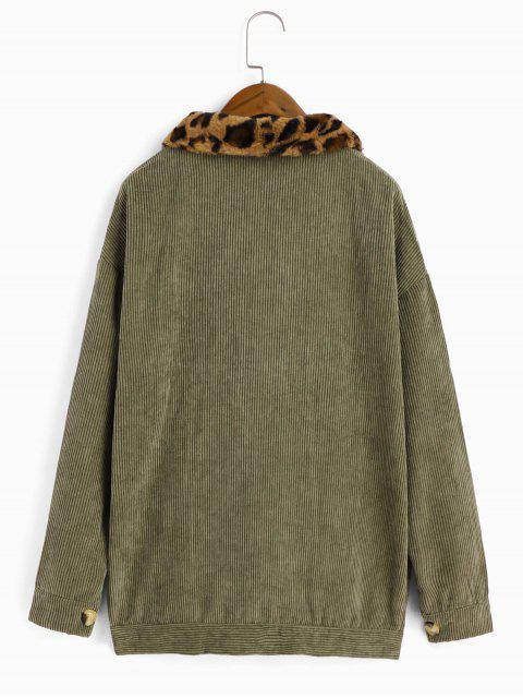 Fuzzy leopardo cuello de pana caída del hombro de la chaqueta - Verde Camuflaje XL Mobile