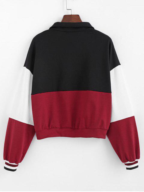 ladies ZAFUL Color-blocking Quarter Zip Striped Cuff Sweatshirt - MULTI M Mobile