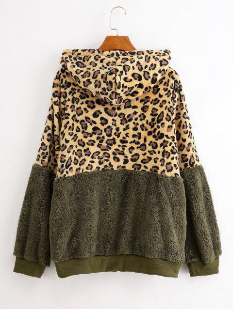Costura de bolsillos de la chaqueta de leopardo postal Hasta peluche - Ejercito Verde XL Mobile